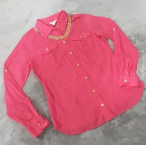 Lilly Pulitzer long sleeve pink button up shirt